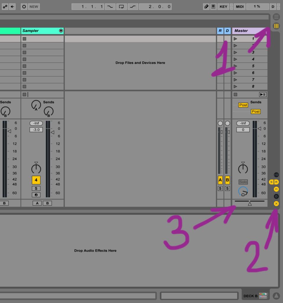 Отображение кроссфейдера в Ableton Live