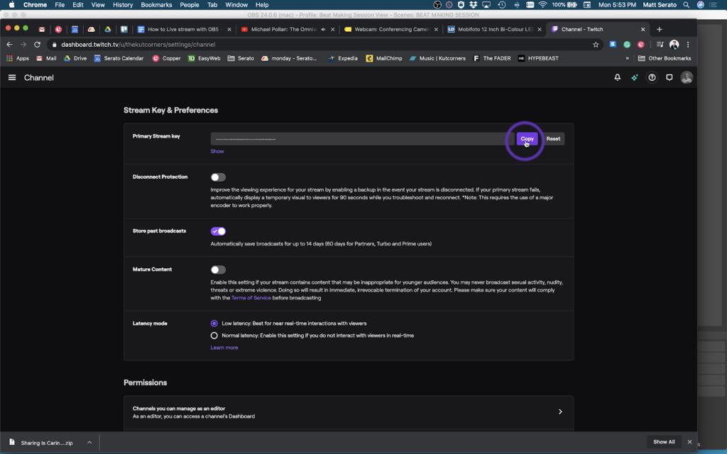 Настройка Twitch и OBS для стримов